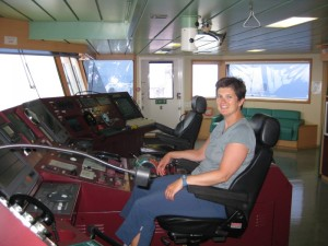 Becky sitting in the Captain's seat - MSC Alessia