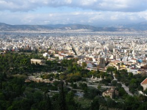 Athens extending north to the hills