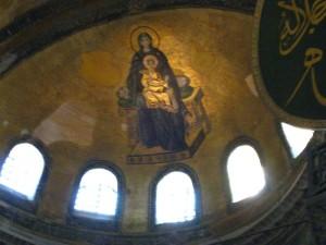 Glowing Jesus mosaic at Aya Sofya
