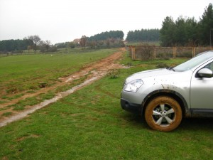 Muddy car, safely parked on the grass.