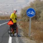 Scott stopped in a bike lane - the first we've seen in Turkey