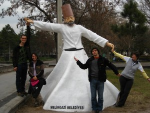 Metin, Gul, Mehmet, and Becky with the Whirling Dervish.