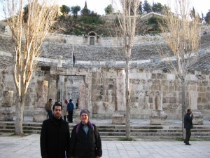 Ramez and Becky in front of the Roman Theatre in Amman