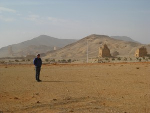 Scott in the middle of the camel race track (between our hotel and old Palmyra)