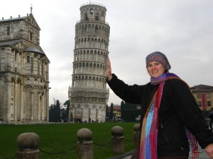 Becky doing her part to keep the tower upright