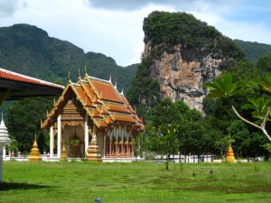 A Wat in Phang Nga (and some impressive hills behind)