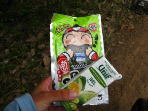 Seaweed and Popeye drink (100% fruit/vegetable) - powering Becky through Thailand