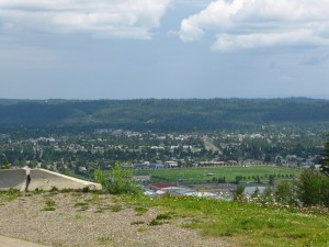 Looking down at Prince George from the road to the University