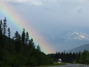 This rainbow almost looks like the Northern Lights jumping out of the sky