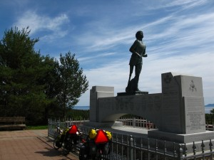 Our bikes, and the statue of Terry Fox